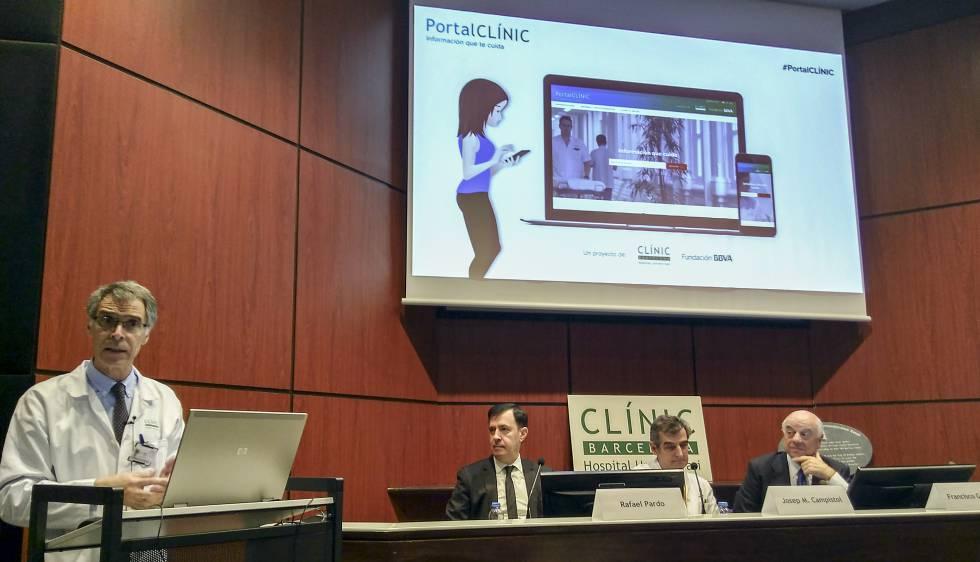 El Dr. Antoni Castells durante la presentación del PortalCLÍNIC.