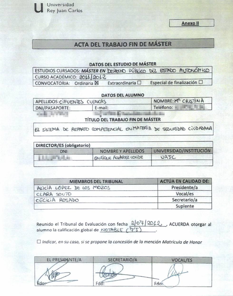 Acta del Trabajo de fin de Máster de Cristina Cifuentes.
