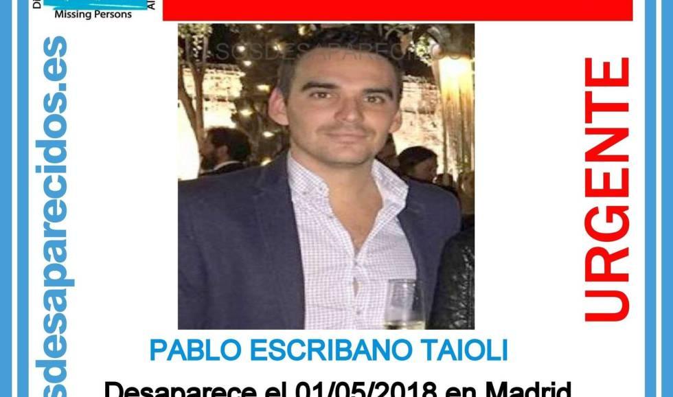 Cartel con la imagen de Pablo Escribano Taioli.