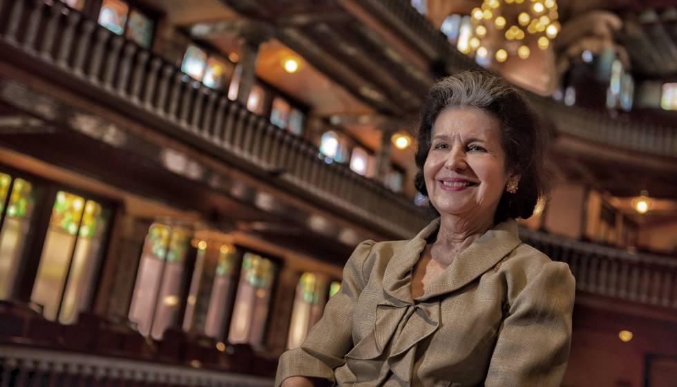 Marta Casals, vídua del compositor català, al Palau de la Música.