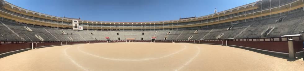 Interior de la plaza de toros de Las Ventas, esta mañana.