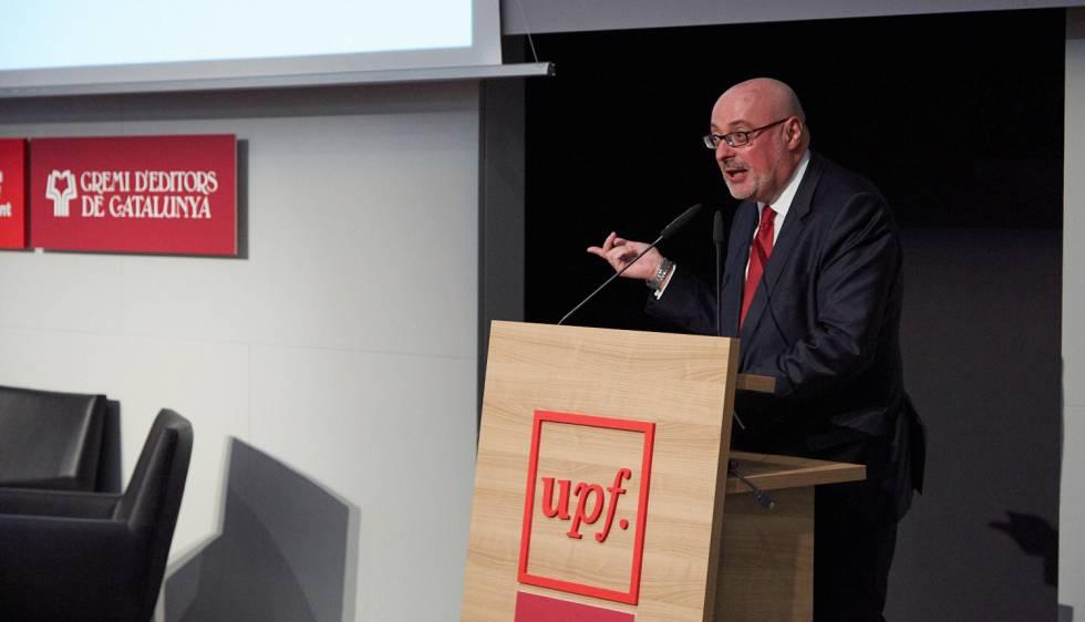 Daniel Fernández, presidente de la Federación de Gremios de Editores de España, durante su intervención en el Foro Edita.