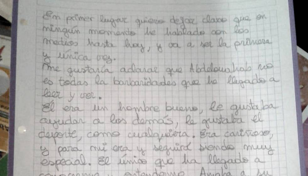 Carta de Luciana M, exmujer de Abdelouahab Taib.