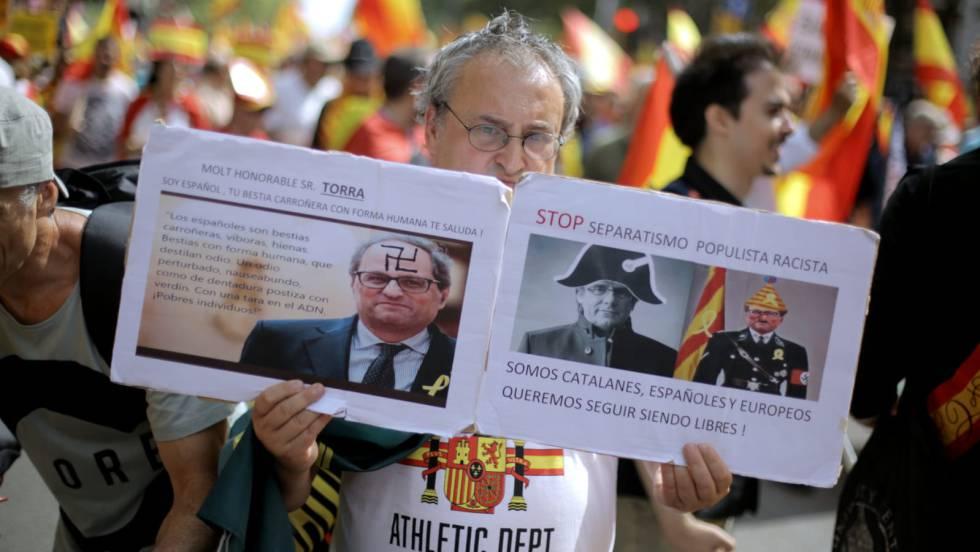 Un herido al término de la manifestación españolista en Barcelona