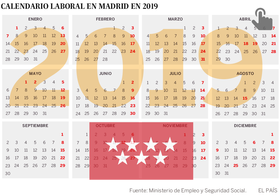 Calendario Enero 2020 Con Festivos Colombia.El Calendario Laboral De Madrid 2019 Tendra Dos