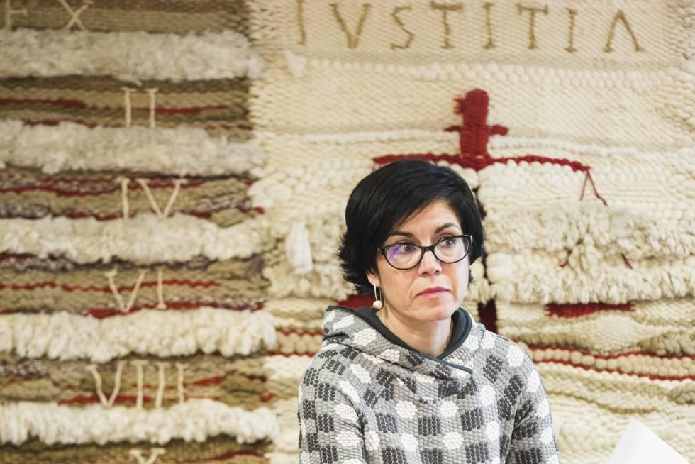 Pilar de Lara durante una conferencia este mes en la Universidade de Santiago.