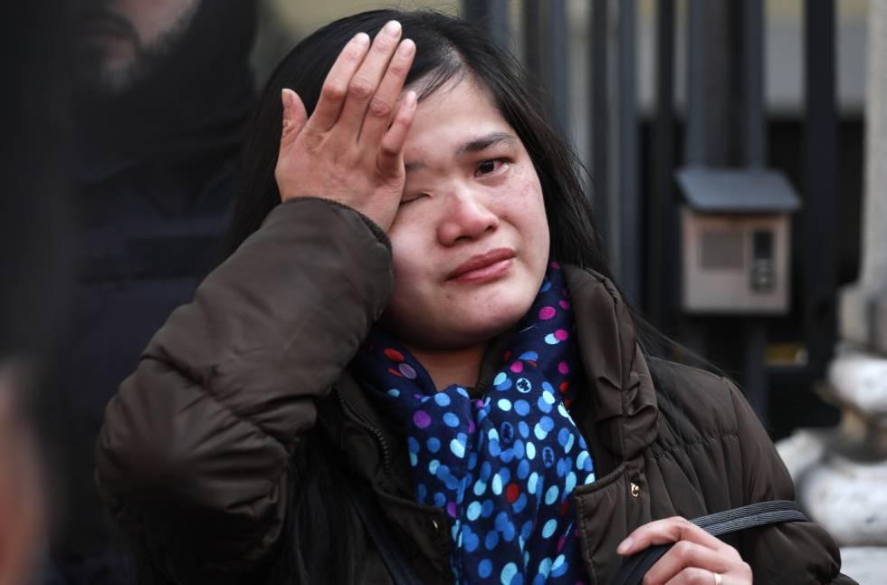 Una ciudadana de origen chino, en la manifestación.