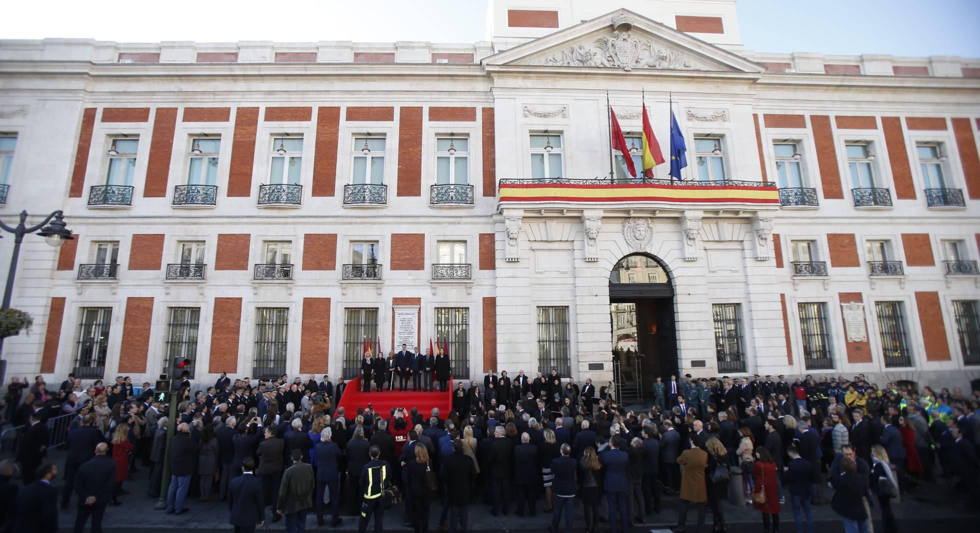 La sede de presidencia de la Comunidad de Madrid, en la Puerta del Sol, donde se ha celebrado el homenaje a las víctimas del 11M.