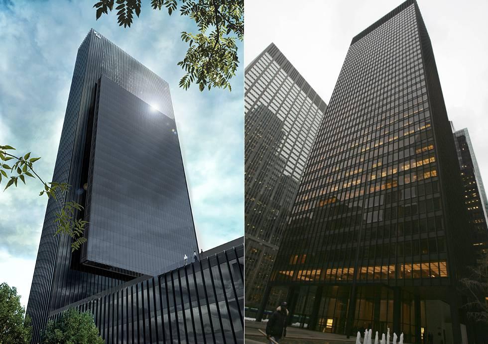 A la izquierda, una recreación del aspecto final que tendrá Caleido y, a la derecha, el edificio Seagram de Nueva York; inspiración del arquitecto.