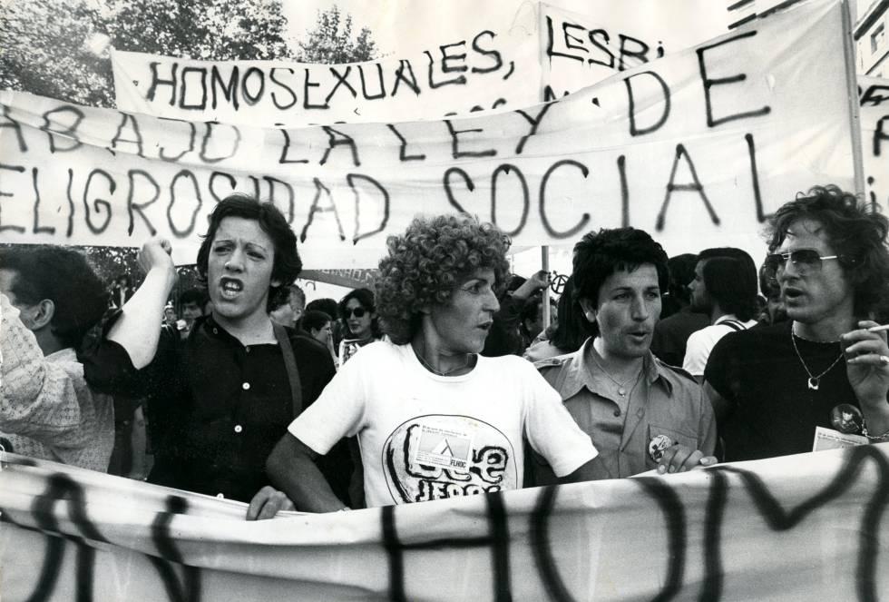 Primera manifestación del Orgullo en Madrid, celebrada en 1978.
