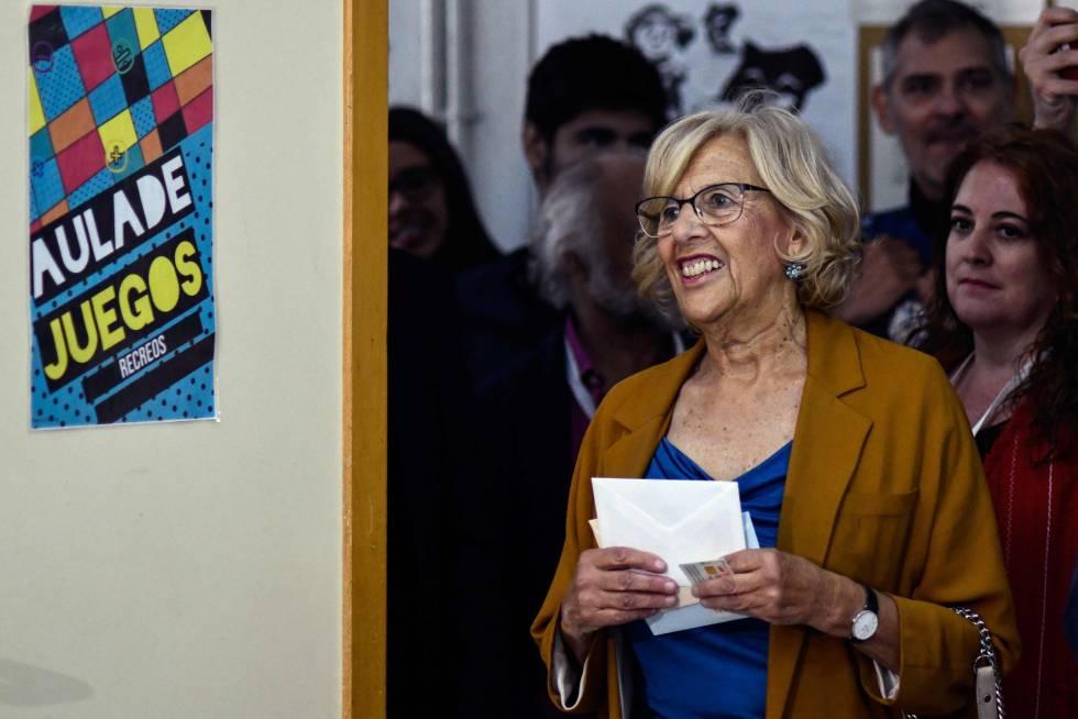 Carmena repetiría como alcaldesa, según el sondeo a pie de urna de Telemadrid