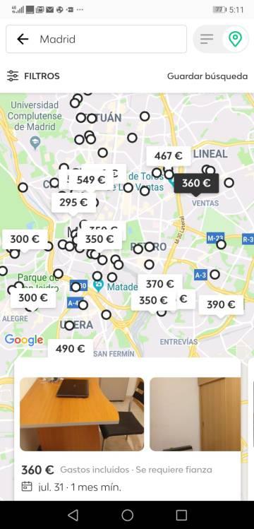 Anuncios de habitaciones en Madrid en la app Badi.