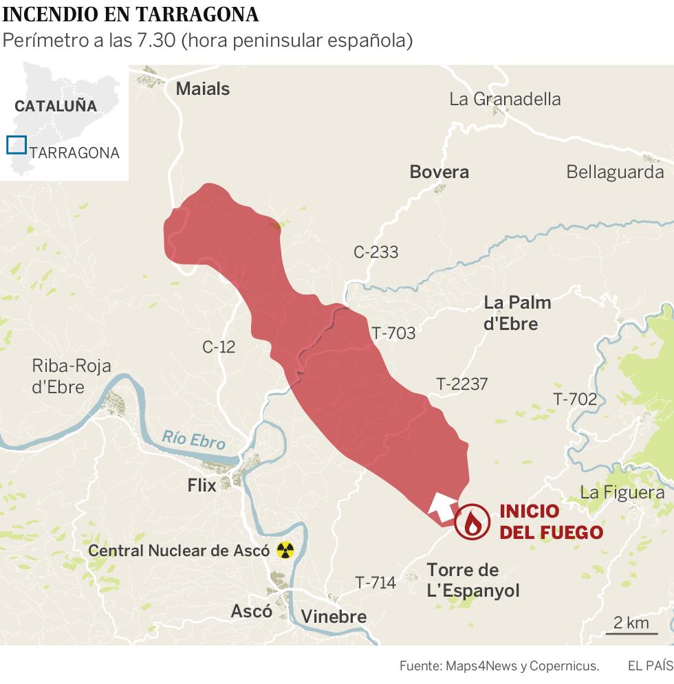 El incendio de Tarragona avanza sin control tras quemar 6.500 hectáreas