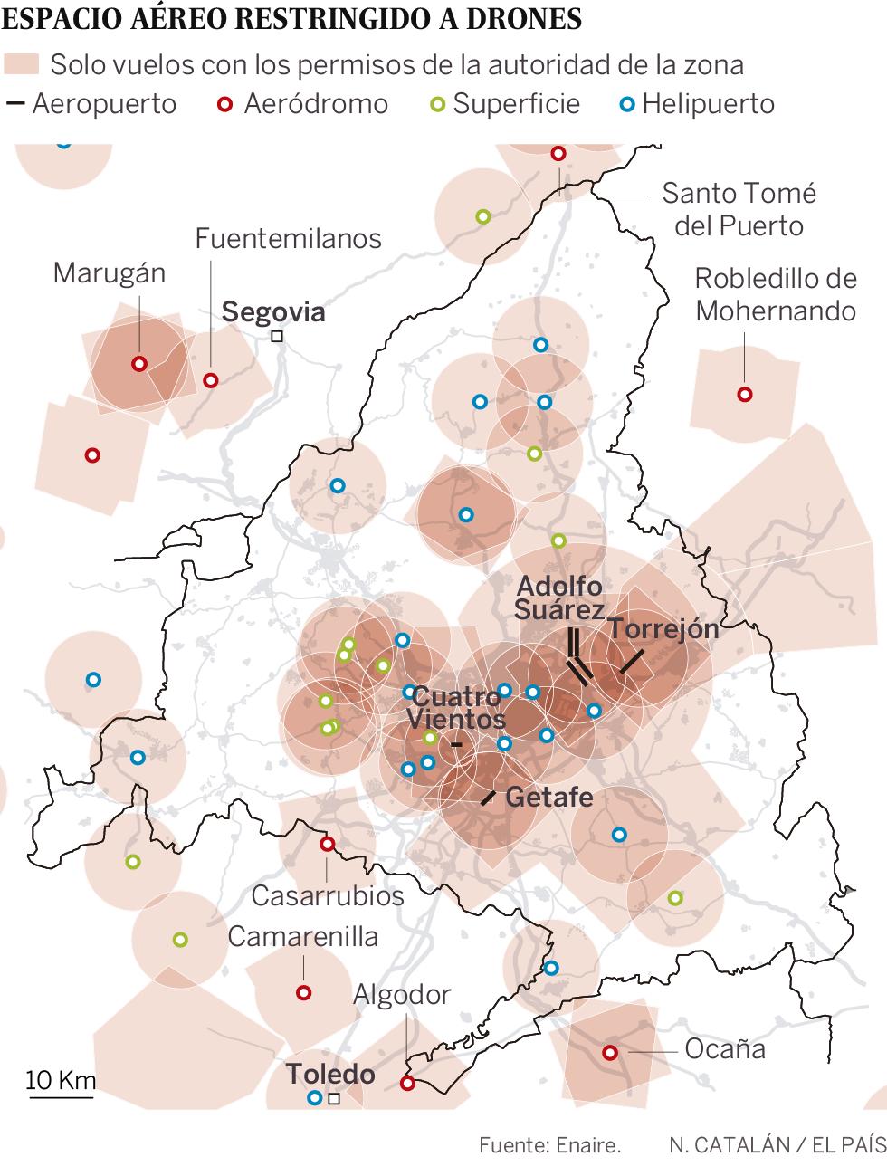 Volar un dron resulta (casi) imposible en la Comunidad de Madrid