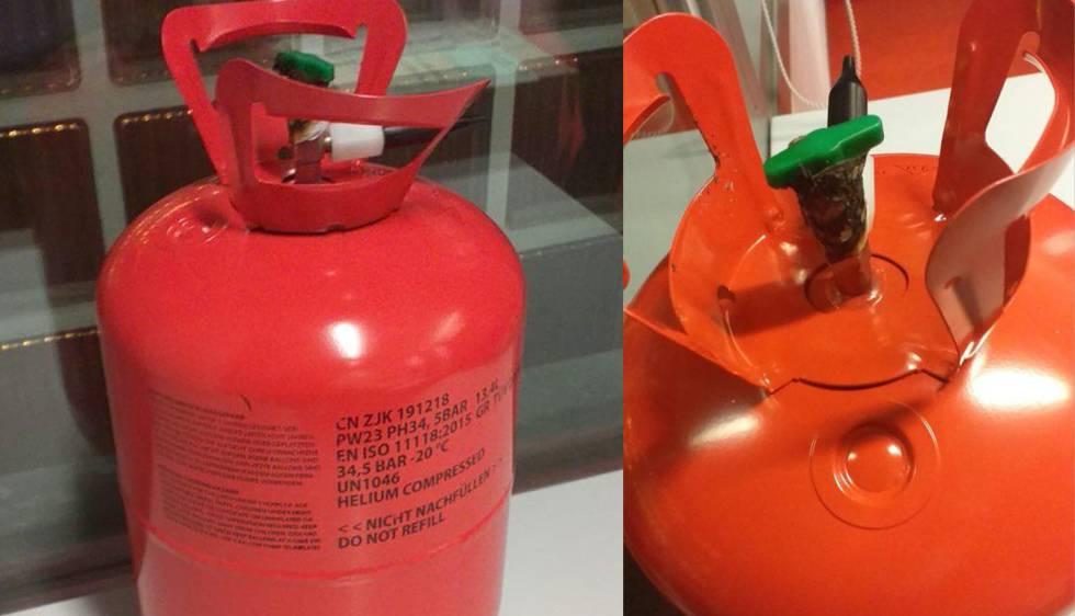 La bombona de helio investigada por los Mossos.