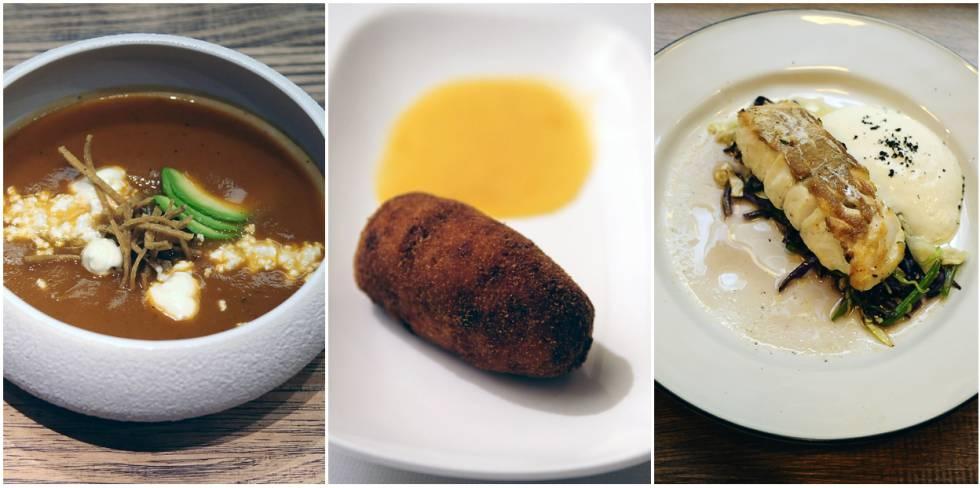 Sopa de tortilla azteca con maíz frito, queso fresco y aguacate, en Cantina Roo; croqueta de langostinos, cangrejo y calamares en Bolívar y merluza de pincho del puerto de Pasajes en Taberna del Loco Antonelli.