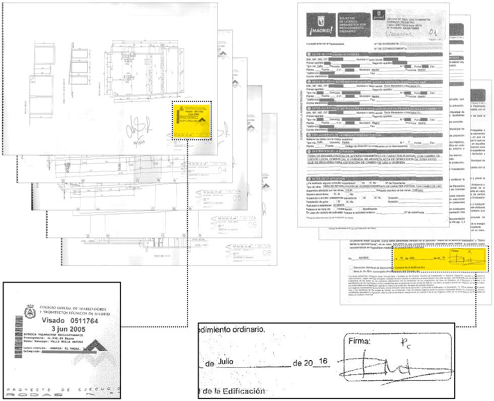 Siegel der Vermesservereinigung von 2005, das in den folgenden Jahren wiederverwendet wurde (i) und Unterschrift des Klosters in einem Lizenzantrag (d), der im Juli 2016 Pläne mit diesem Siegel registrierte.
