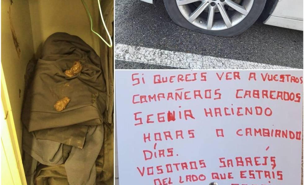 La taquilla con excrementos de perros, un pinchazo y un cartel amenazante en el corcho de la comisaría.