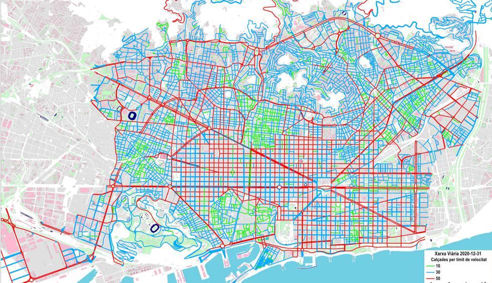 Barcelona En El Mapa.Barcelona Limitara La Velocidad A 30 Kilometros Por Hora En Dos De Cada Tres Calles Cataluna El Pais