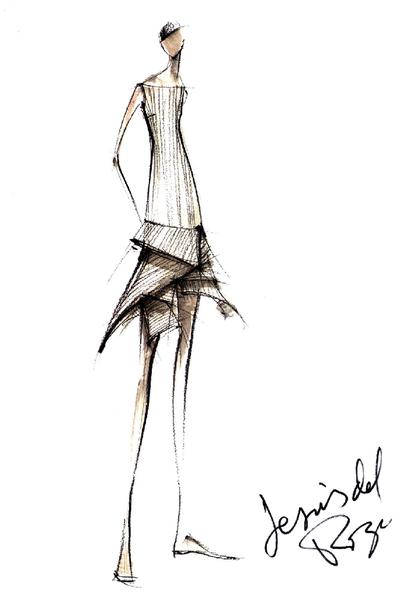 reproduccin de un boceto del diseador de moda jess del pozo fallecido hoy