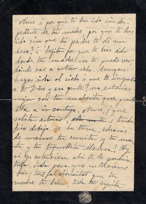 Carta autógrafa de 1924, en la que Zambrano habla de su hijo muerto.
