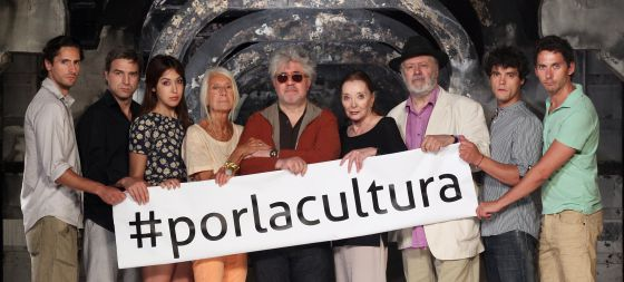 From left to right: Juan Diego Botto, Alberto San Juan, Anni B Sweet, Soledad Lorenzo, Pedro Almodóvar, Nuria Espert, Mario Gas, Miguel Abellán and Paco León.