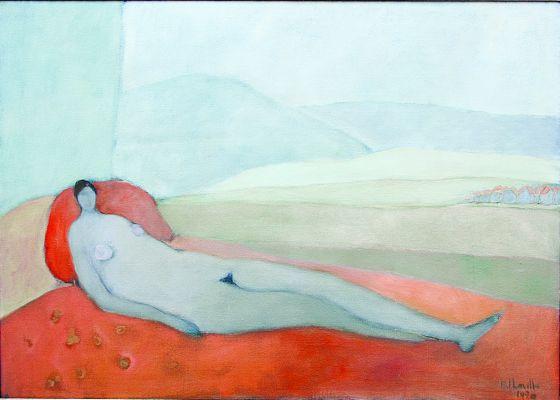 'Desnudo reclinado con vista de montaña' (1970), óleo de Joy Laville.