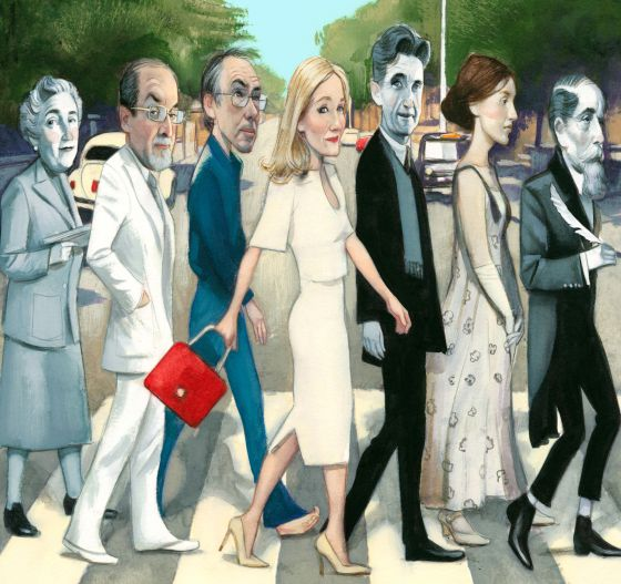 Left to right: Agatha Christie, Salman Rushdie, Ian McEwan, J.K. Rowling, George Orwell, Virginia Woolf and Charles Dickens.