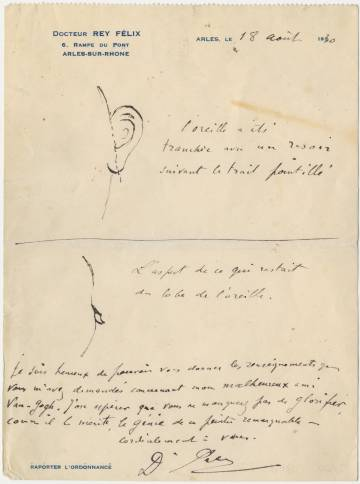 Parte médico que explica cómo Van Gogh se seccionó parte de la oreja.