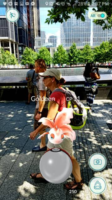 la cattura di gioco mostrando un pokemon vicino al Memoriale dei 11S a New York.