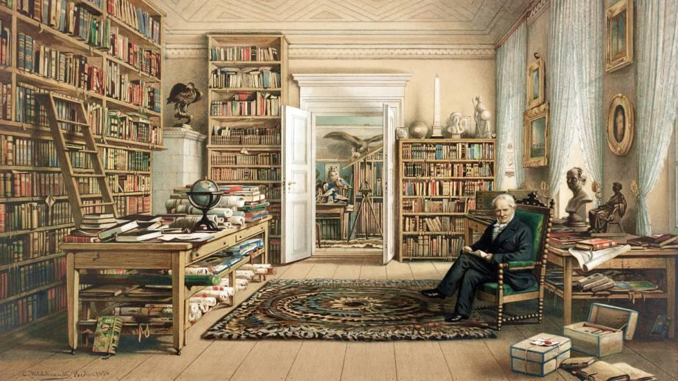 ilustración de la biblioteca de Humboldt en su piso de Berlín.