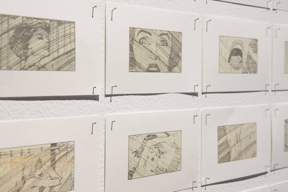 'Storyboard' de la secuencia de la ducha de 'Psicosis', en la exposición.