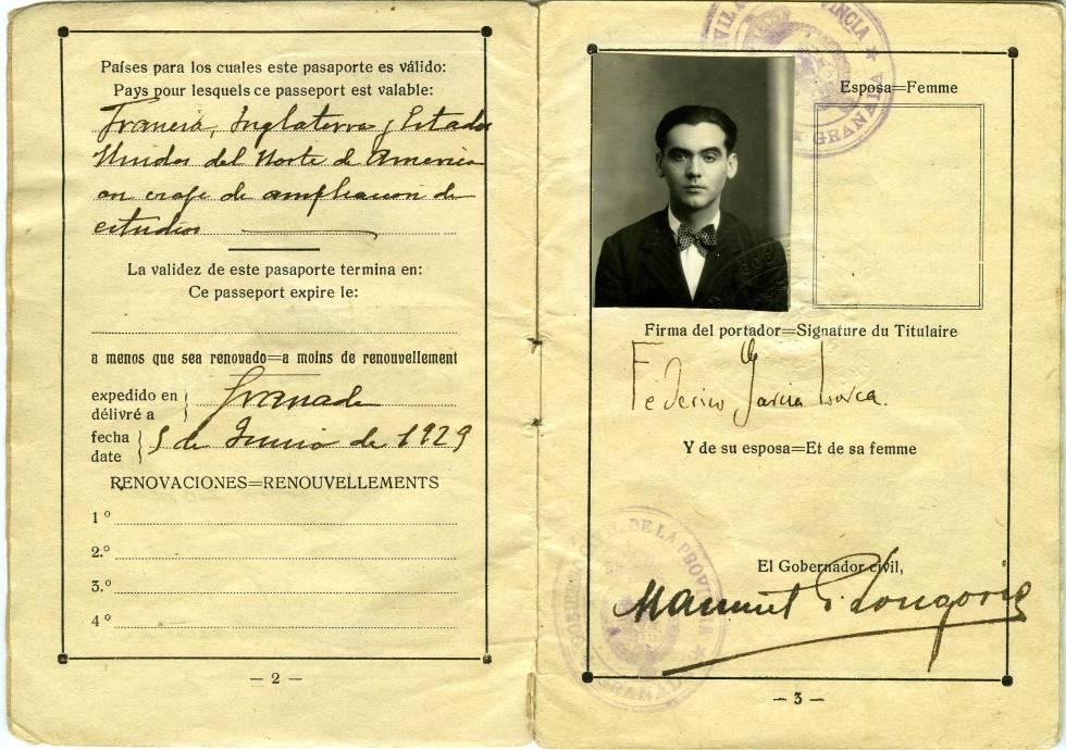El pasaporte de Lorca.