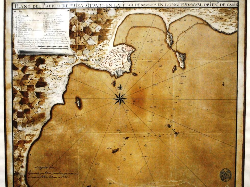Plano del puerto de Ibiza de 1784 en cuyo encabezado se marca la longitud con respecto al Meridiano de Cádiz.