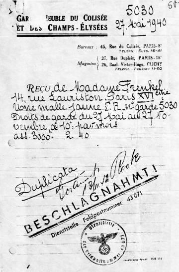 Documento de François Frenkel, autora del libro 'Una librería en Berlín', de un guardamuebles de París de 1940.