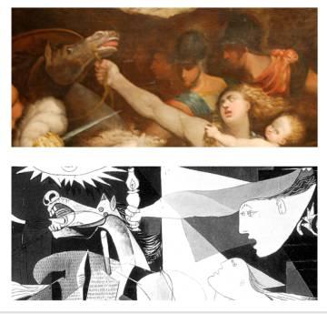 Comparativa de la obra de Mirola con el detalle del Guernica