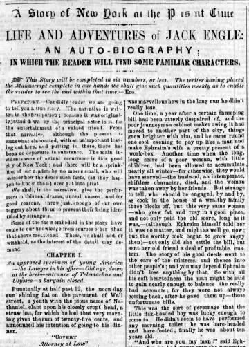 Página con la parte primera (de 6) en que fue publicada 'Vida y aventuras de Jack Engle'.