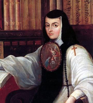 Fragmento del retrato de Sor Juana Inés de la Cruz, Miguel Cabrera, ca. 1750 (Castillo de Chapultepec).