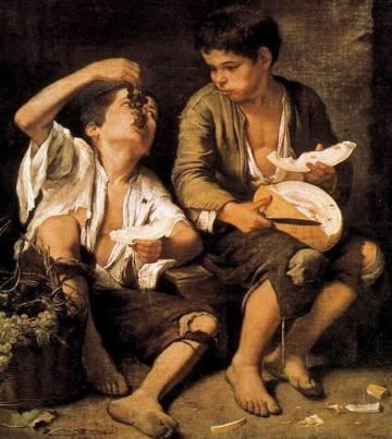 Niños comiendo uvas y melón, de Murillo.