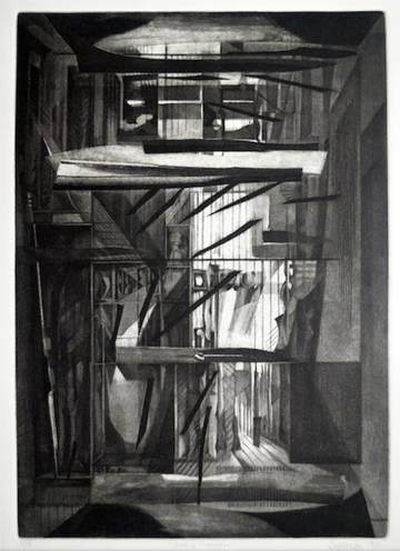Un grabado de la serie 'Luz y tinieblas' de Francisco Moreno Capdevila.