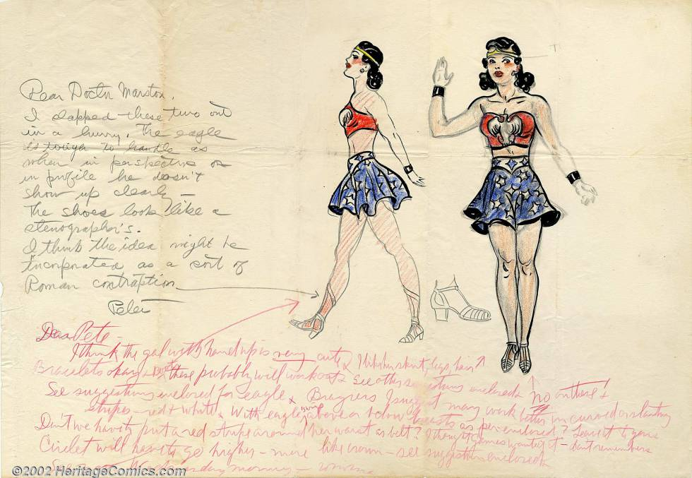 El primer boceto de Wonder Woman con anotaciones de sus creadores, el ilustrador Harry G. Peter y William Moulton Marsten.
