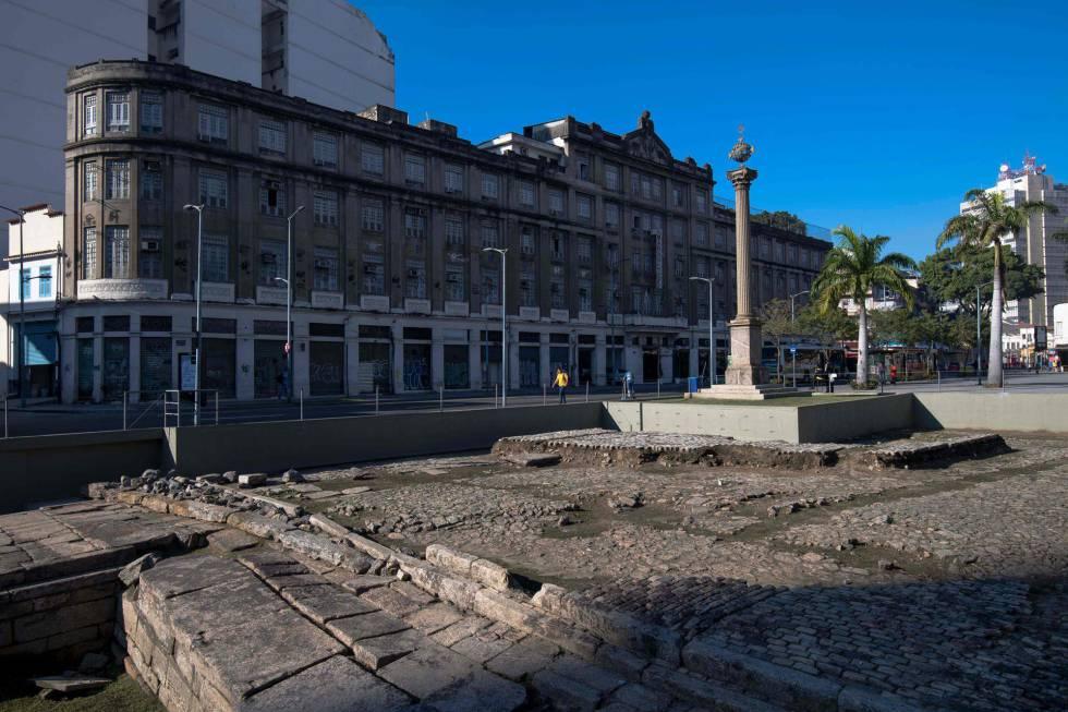 Restos arqueológicos del puerto de Valongo, en Río de Janeiro.