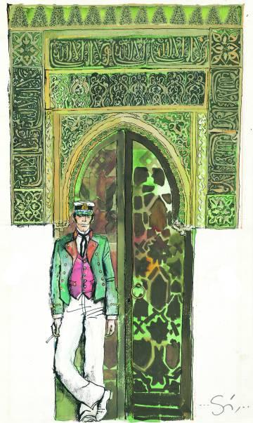 Una ilustración de Corto Maltés, dibujada por Hugo Pratt.