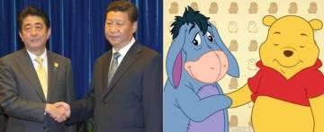 El primer ministro japonés Shinzo Abe y el presidente chino Xi Jinping, en 2014, y, a la derecha, Ígor y Winnie the Pooh.