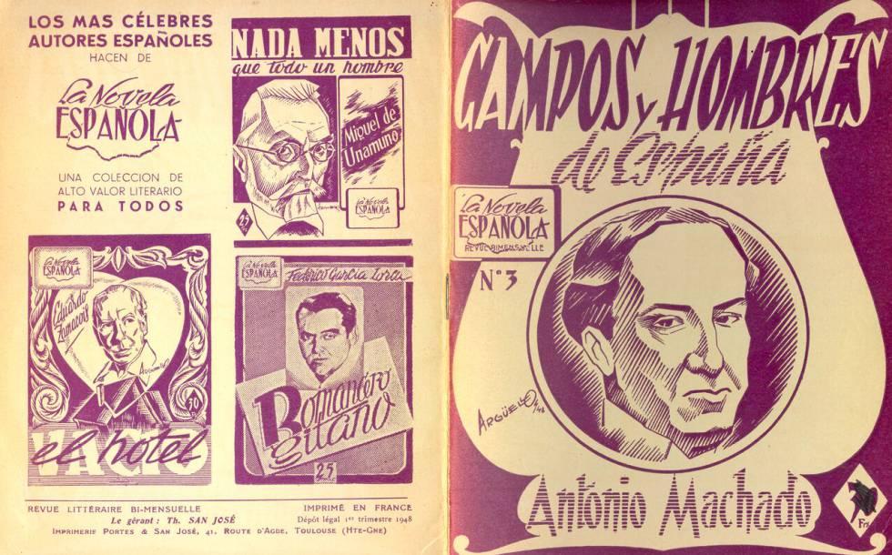 Portadas de la colección La Novela Española, un mensual (1947.1949) editada por la Librairie des Editions Espagnoles de Toulouse.