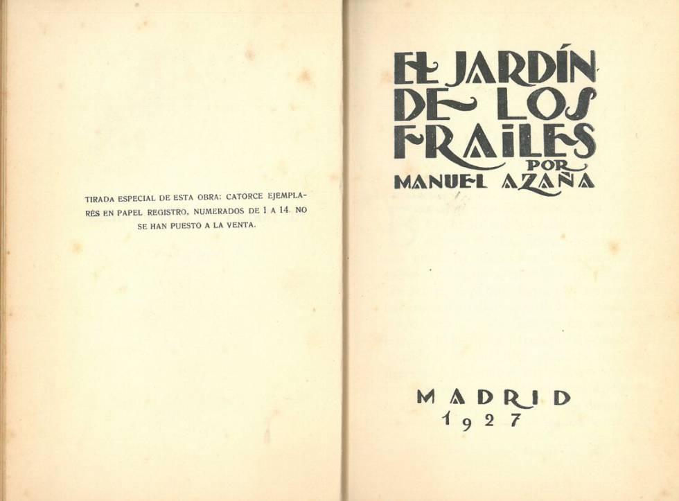 Primera edición de una de las novelas de Azaña.