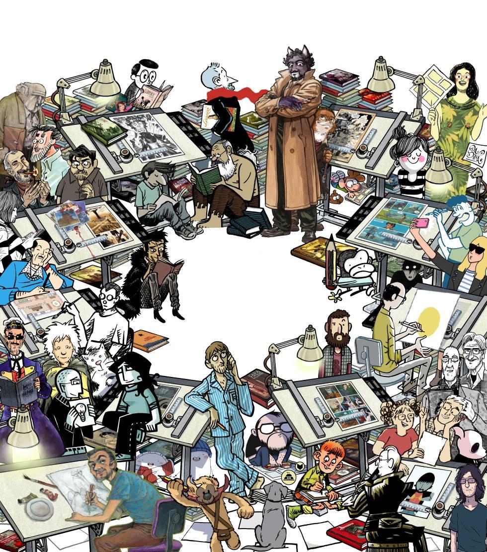 Ilustración de Kiko da Silva, para la portada de Babelia, que contiene referencias a 72 autores de cómic.