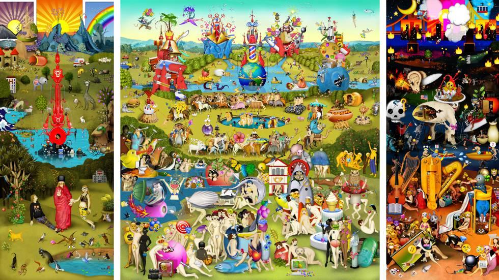 La artista digital Carla Gannis ha reinterpretado en su El jardín de las emojidelicias (2013-2014) la obra maestra del Bosco.