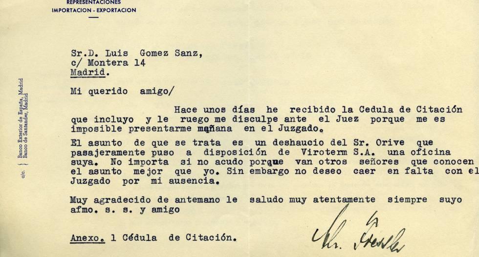 Carta del nazi Christoph Fiessler enviada a Luis Gómez Sanz.