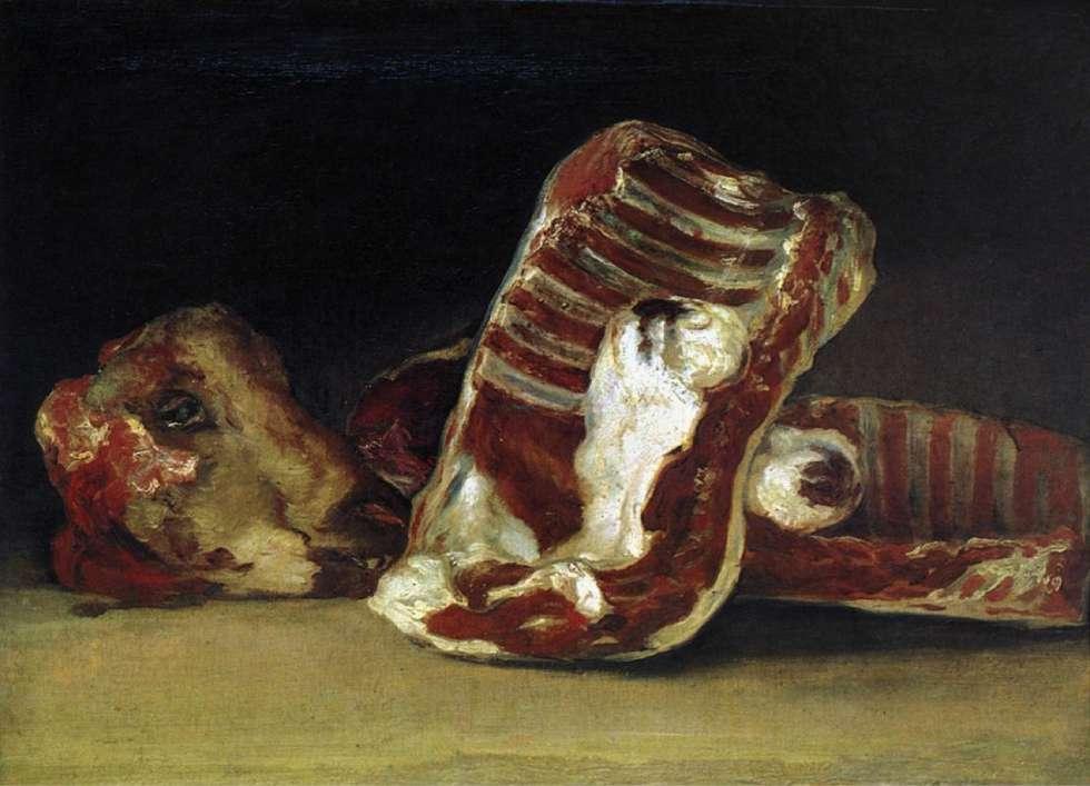 'Bodegón con costillas, lomo y cabeza de cordero', pintado por Goya entre 1808 y 1812.
